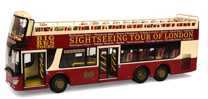 Double decker sightseeing buses